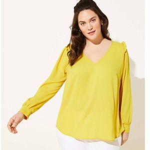 LOFT Plus yellow V-neck blouse with ruffles